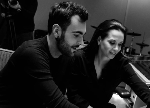 marco mengoni and grace capristo in the studio